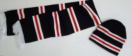 MANCHESTER UNITED BAR SCARF AND HAT (BLACK)