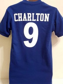 MANCHESTER UNITED 1960's BOBBY CHARLTON NO. 9 REPLICA RETRO SHIRT (BLUE)